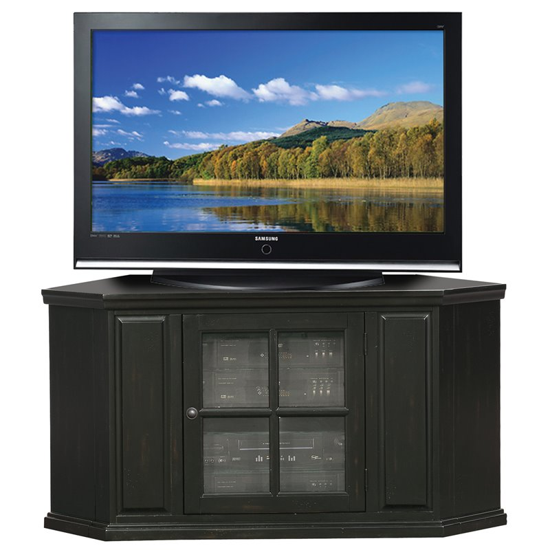Bowery Hill 47 Corner TV Stand in Rubbed Black