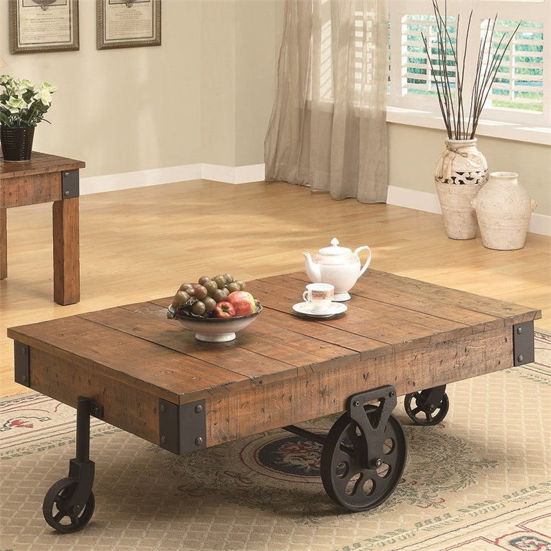 Bowery Hill Cart Coffee Table in Rustic Oak