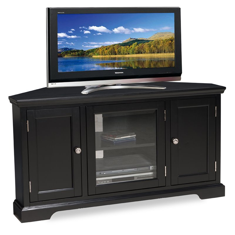 "Bowery Hill 46"" Corner Tv Stand In Black"