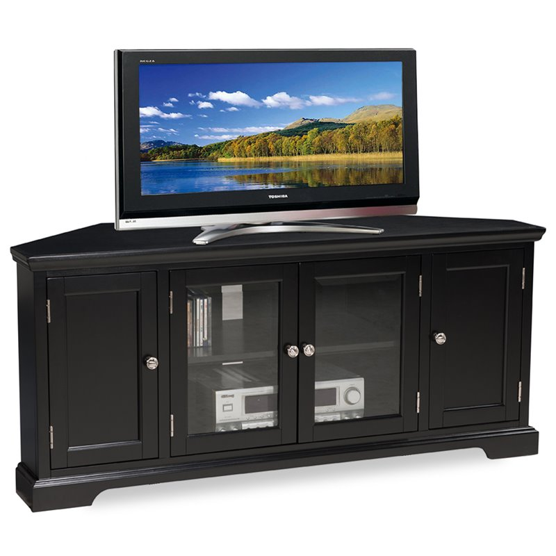 "Bowery Hill 56"" Corner Tv Stand In Black"