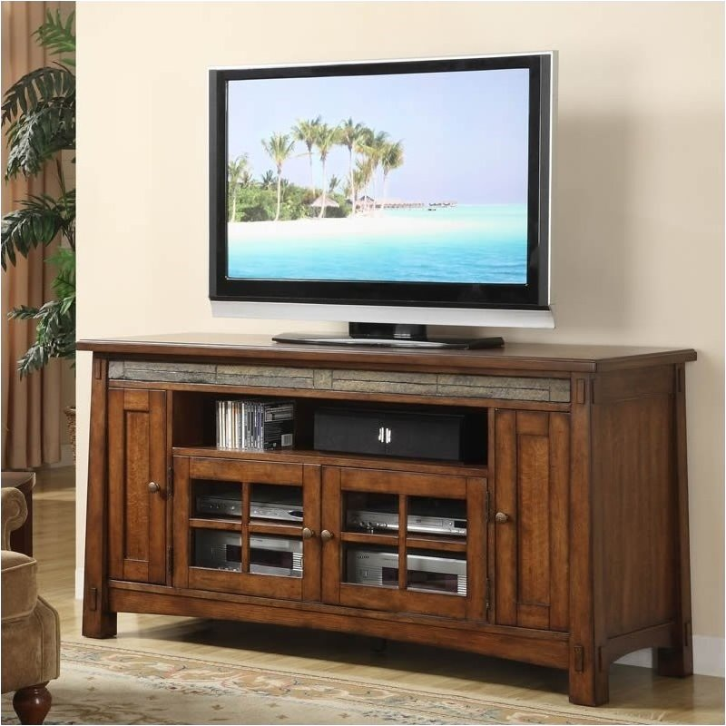 Bowery Hill 62 Inch TV Stand in Americana Oak