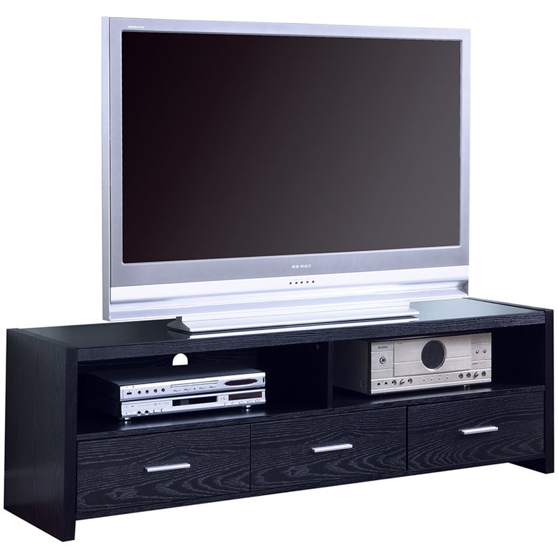 "Bowery Hill 61"" Contemporary Tv Stand In Black"