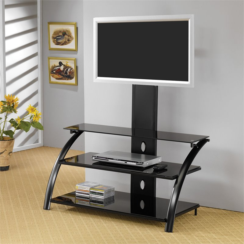 "Bowery Hill 42"" Casual Contemporary Metal Tv Stand In Black"