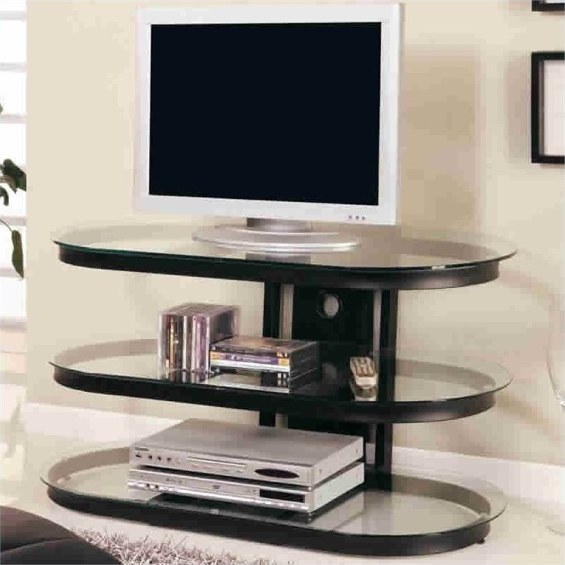 "Bowery Hill 42"" Contemporary Metal And Glass Tv Stand In Black"