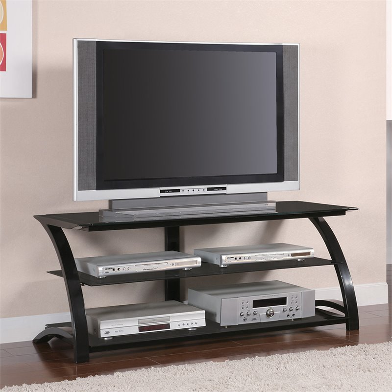"Bowery Hill 48"" Contemporary Metal And Glass Tv Stand In Black"