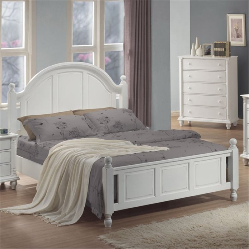 Bowery Hill Full Panel Bed in Distressed White