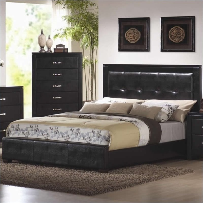 Bowery Hill King Faux Leather Upholstered Low Profile Bed in Black