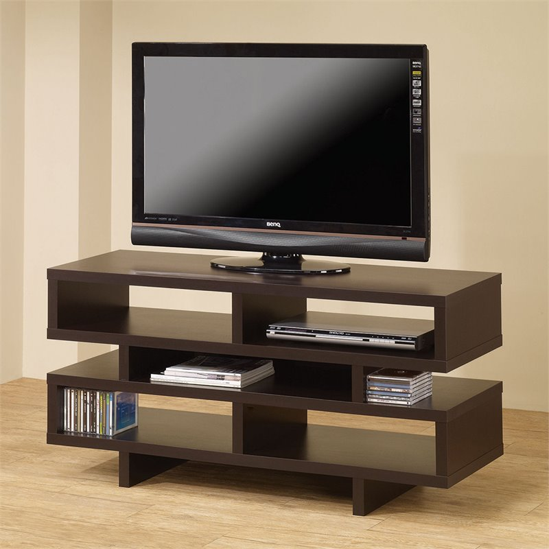 Bowery Hill Contemporary Tv Stand With Open Storage In Cappuccino