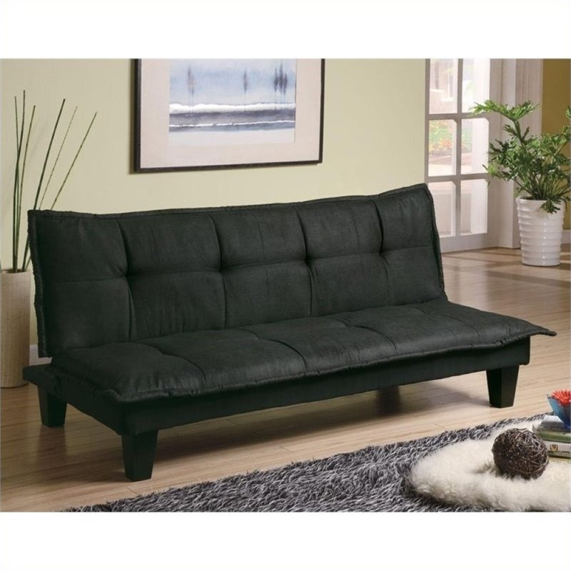 Bowery Hill Padded Convertible Sofa Bed in Black