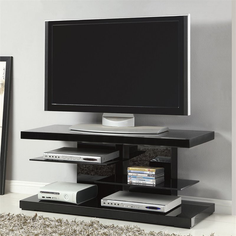 "Bowery Hill 47"" Tv Stand In Black With Alternating Glass Shelves"