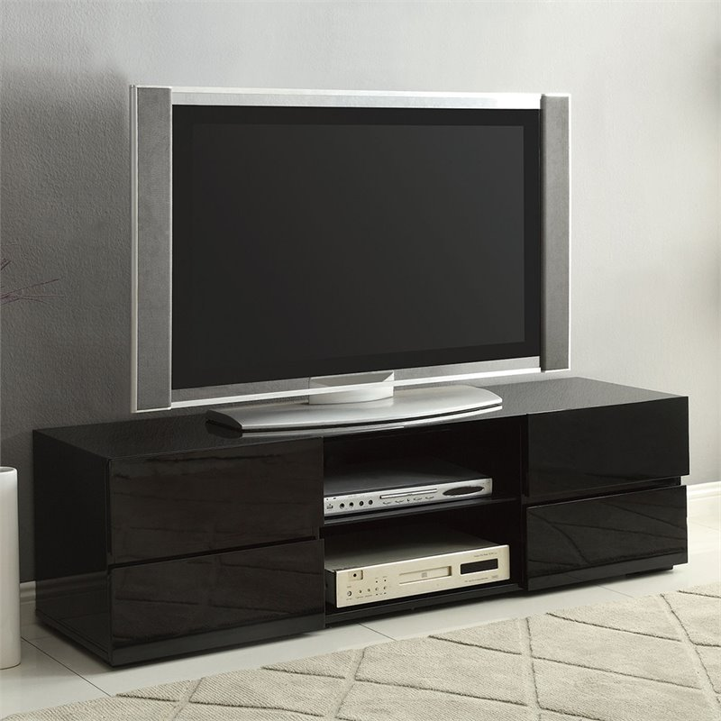 "Bowery Hill 56"" High Gloss Tv Stand In Black With Glass Shelf"