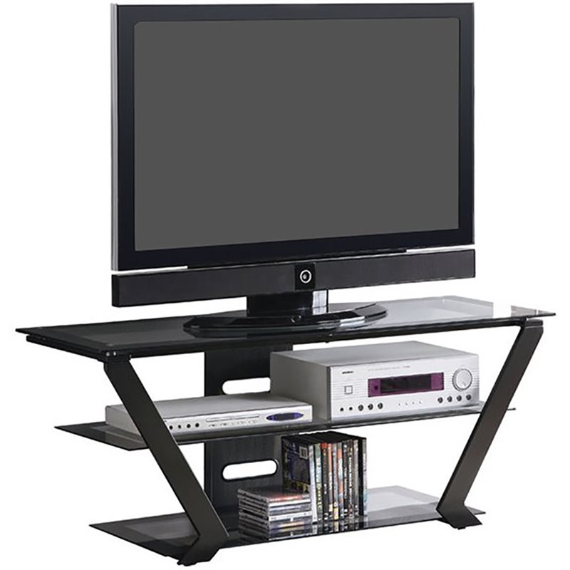 "Bowery Hill 50"" Tv Stand In Black With Metal Base"
