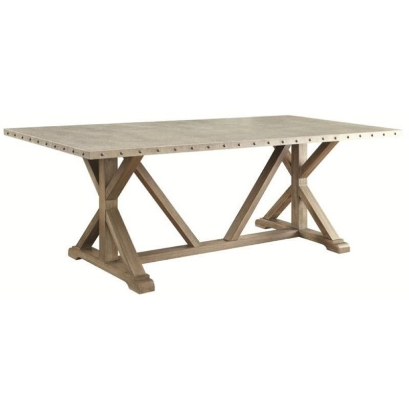 Bowery Hill Transitional Style Dining Table in Driftwood