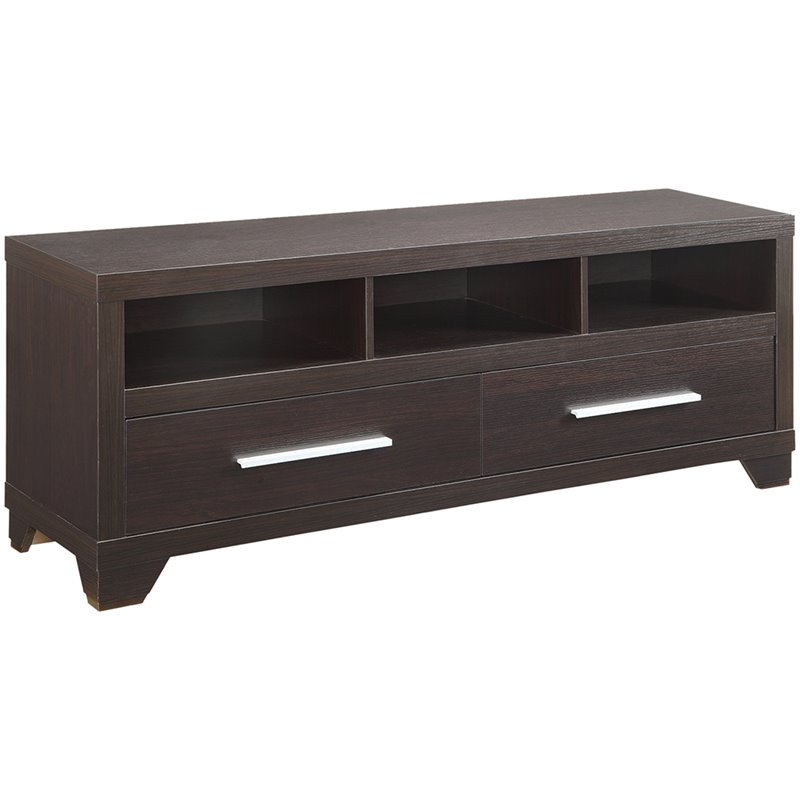 Bowery Hill 60 3 Shelf 2 Door TV Stand in Cappuccino
