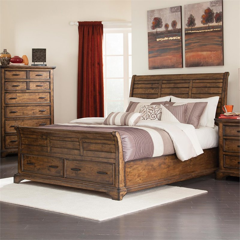 Bowery Hill King Sleigh Bed with Drawers