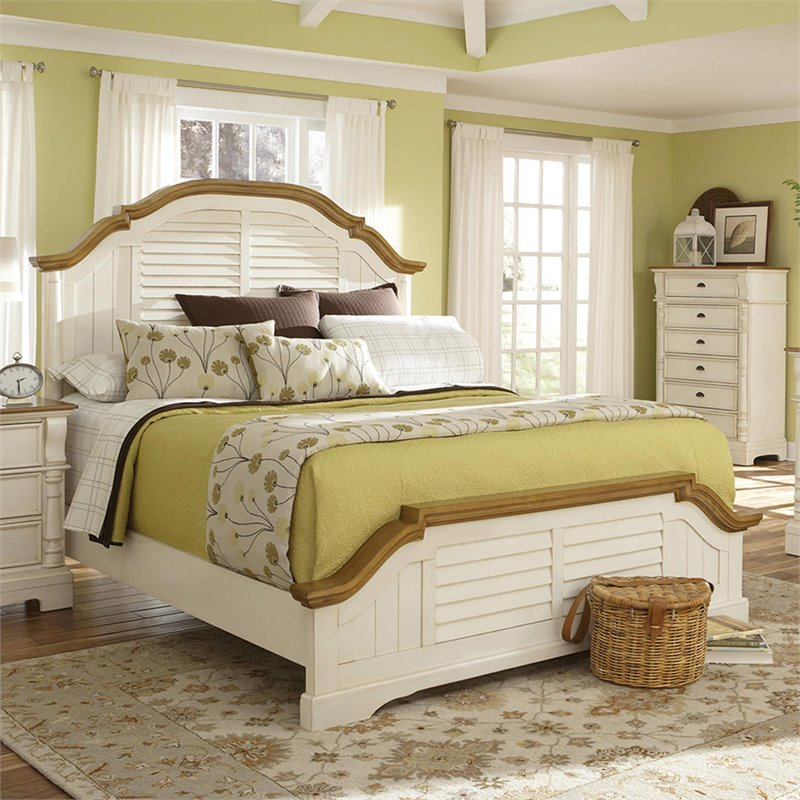 Bowery Hill Queen Panel Bed in Oak and Buttermilk