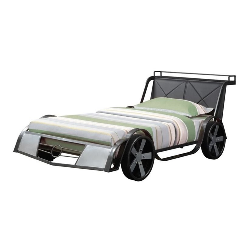 Bowery Hill Race Car Twin Bed in Gunmetal and Silver Gray