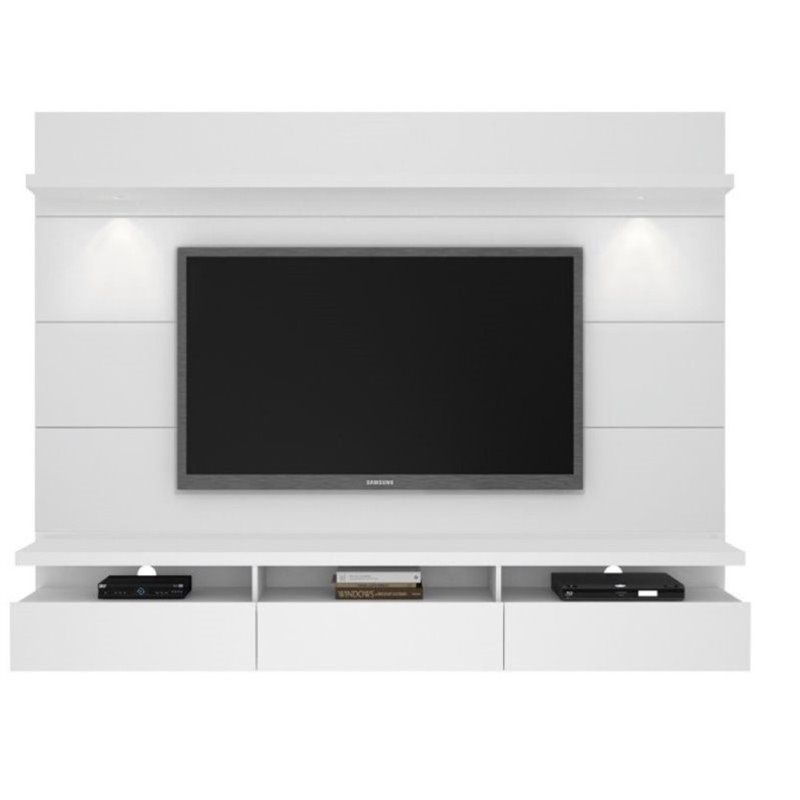 "Bowery Hill 86"" Tv Stand In Glossy White"