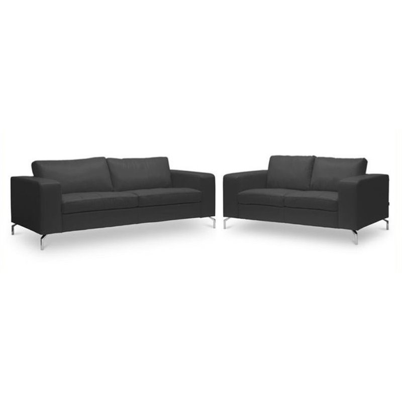 Bowery Hill 2 Piece Leather Sofa Set in Black