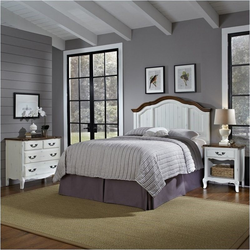 Bowery Hill Full Queen Headboard Bedroom Set in Rubbed White