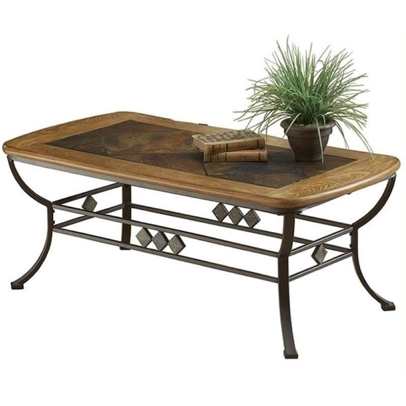 Bowery Hill Slate Top Coffee Table in Brown