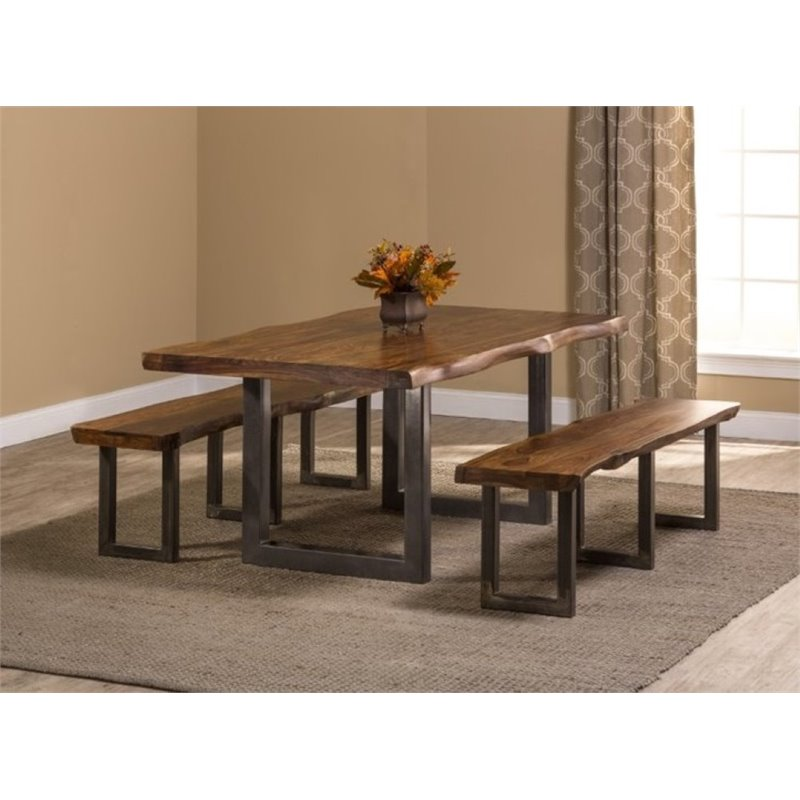 Bowery Hill 3 Piece Dining Set in Natural Sheesham