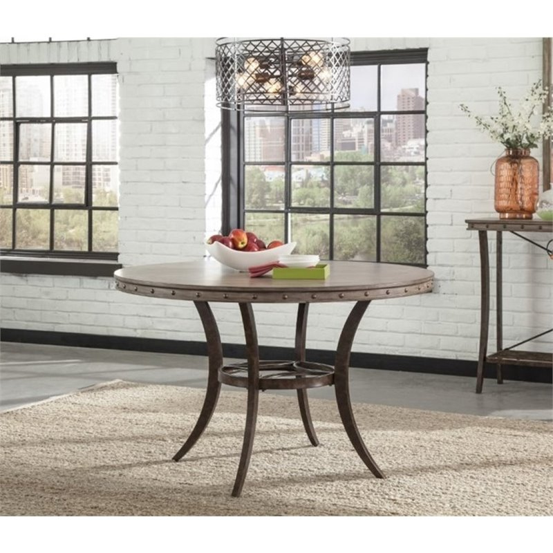 Bowery Hill Round Dining Table in Washed Gray