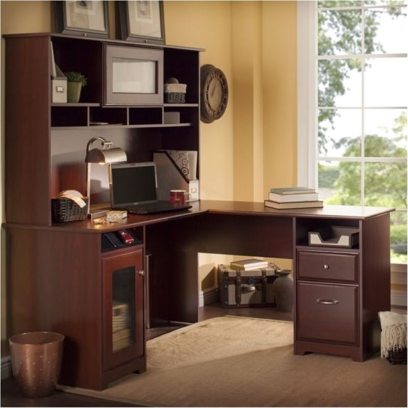 Bowery Hill 60 L-Shaped Computer Desk with Hutch in Harvest Cherry