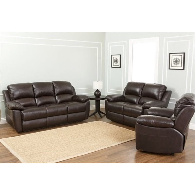 Bowery Hill 3 Piece Leather Reclining Sofa Set in Espresso