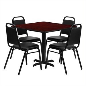 Bowery Hill 5 Piece Laminate Table Set in Mahogany and Black