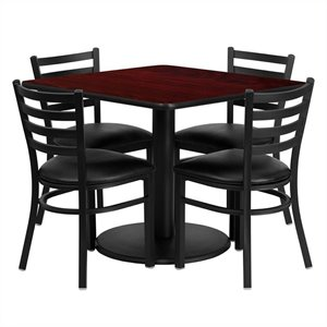 Bowery Hill 5 Piece Square Table Set in Black and Mahogany