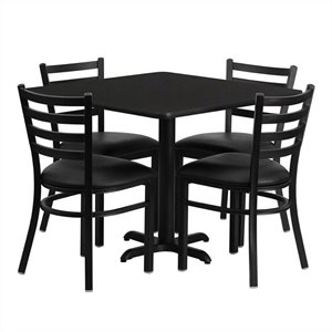 Bowery Hill 5 Piece Square Laminate Table Set in Black