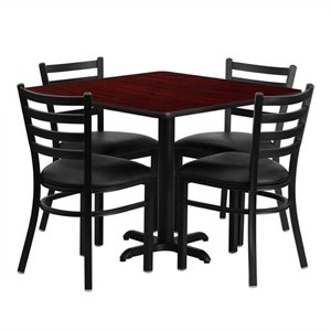 Bowery Hill 5 Piece Laminate Table Set in Black and Mahogany