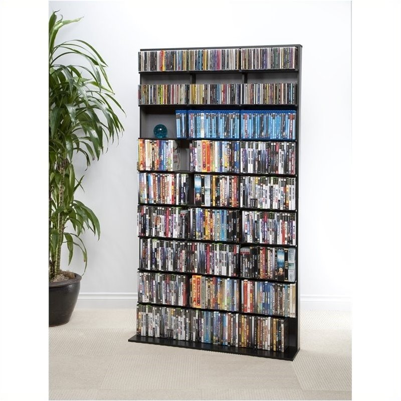 Pemberly Row 72 Large Media Rack in Black 1462361