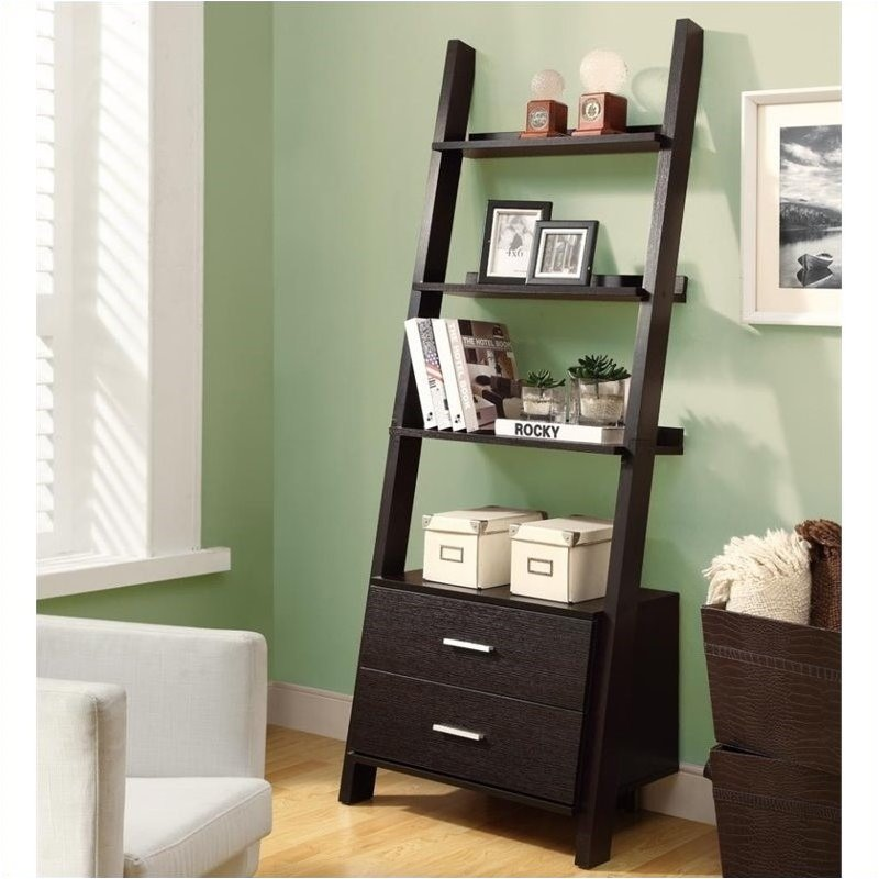 Pemberly Row 69 Ladder Bookcase with 2 Storage Drawers in Cappuccino