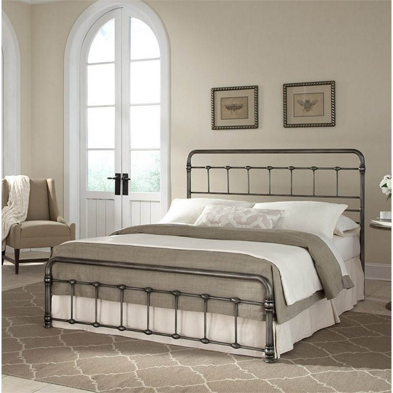 Pemberly Row Queen Metal Bed in Weathered Nickel