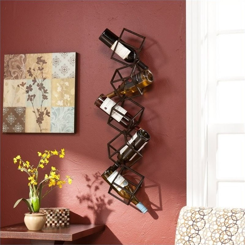 Pemberly Row Wall Mount Wine Storage Unit in Brushed Metal