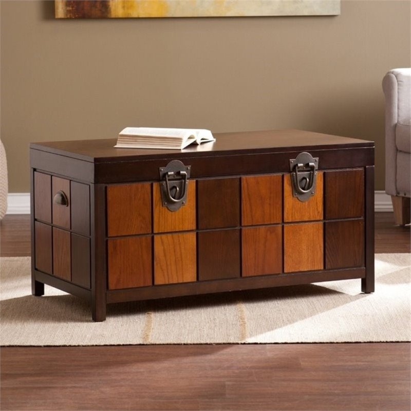 Pemberly Row Trunk Coffee Table in Espresso and Woods