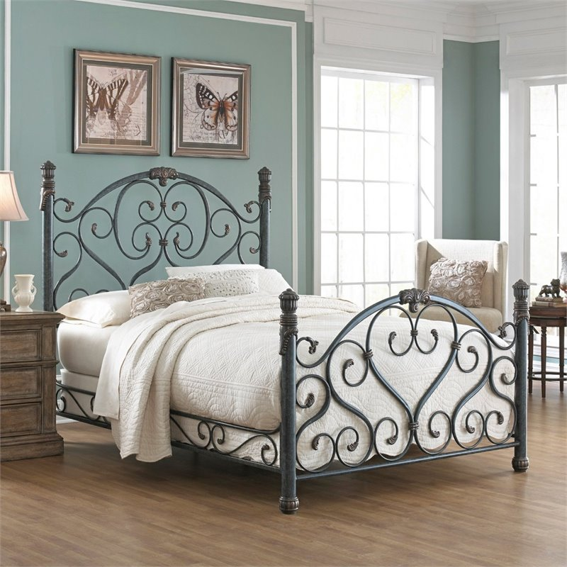Pemberly Row California King Marble Bed in Cerulean