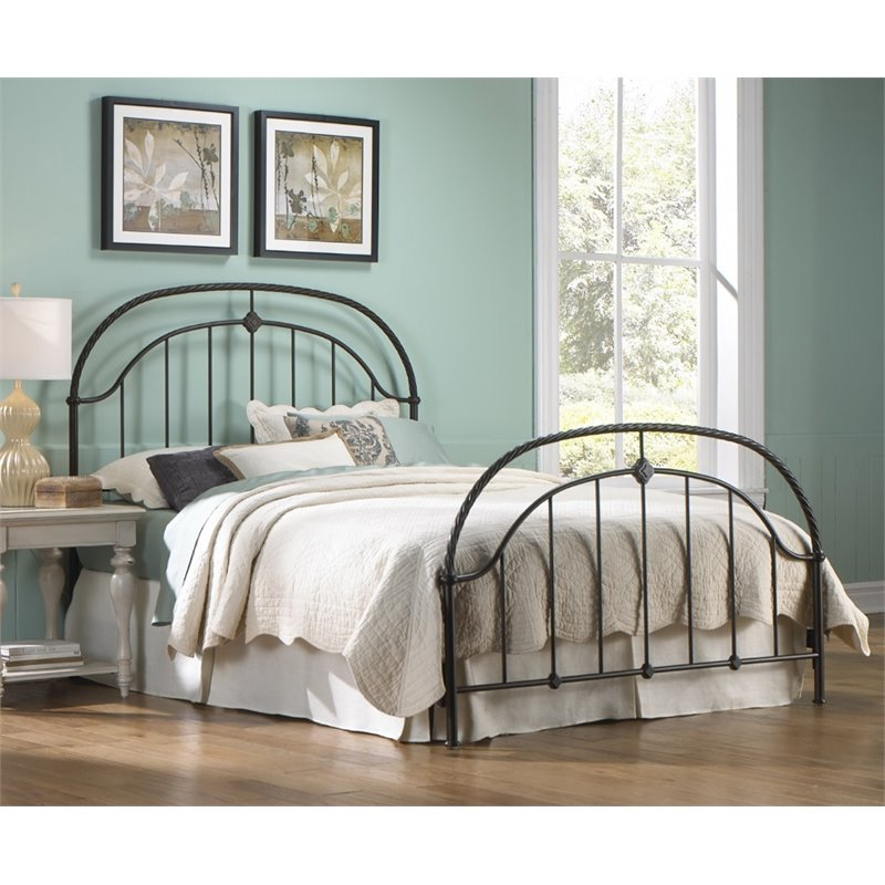 Pemberly Row Queen Metal Bed in Ancient Gold