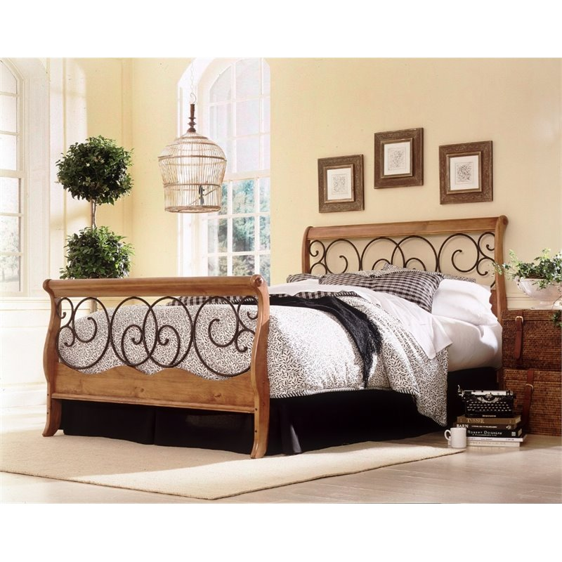 Pemberly Row California King Sleigh Bed in Honey Oak with Autumn Brown