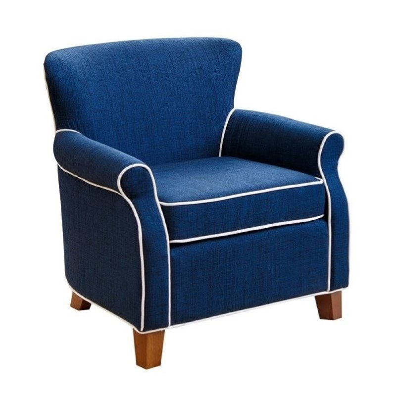 Pemberly Row Jackie Kids Fabric Mini Armchair in Navy Blue