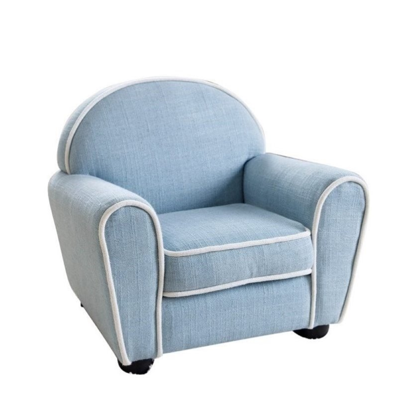 Pemberly Row Kids Sophie Fabric Baby Armchair in Blue
