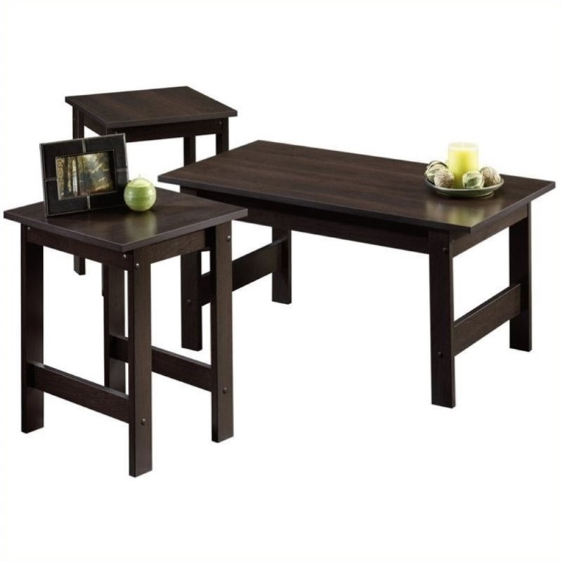 Pemberly Row 3 Piece Coffee Table Set in Cinnamon Cherry