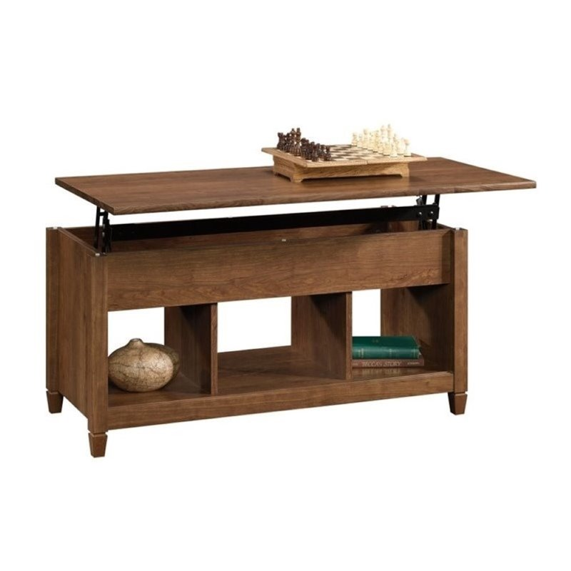 Pemberly Row Lift Top Coffee Table in Auburn Cherry