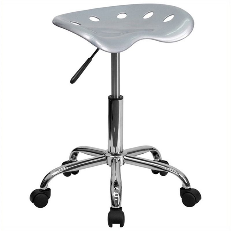 Scranton & Co Adjustable Bar Stool with Chrome Base in Silver SC-454690
