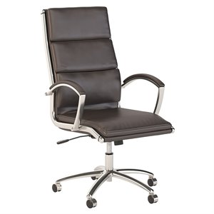 Scranton & Co High Back Leather Executive Office Chair in Dark Brown
