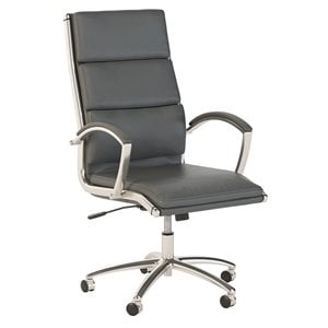 Scranton & Co High Back Leather Executive Office Chair in Dark Gray