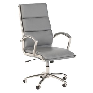 Scranton & Co High Back Leather Executive Office Chair in Light Gray