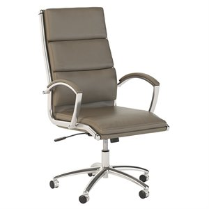 Scranton & Co High Back Leather Executive Office Chair in Washed Gray